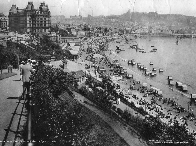 A general view over Scarborough South Bay with the Grand Hotel in 1990. Hulton Archive/Getty Images