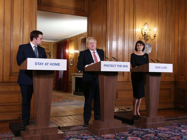Prime Minister Boris Johnson, joined by Housing, Communities and Local Government Secretary Robert Jenrick and Deputy Chief Medical Officer Jenny Harries, speaks during a media briefing in Downing Street, London, on coronavirus (COVID-19). Photo: Ian Vogler/Daily Mirror/PA Wire