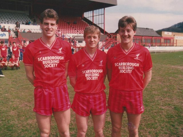 Tony Outhart is pictured above with Boro teammates Craig Short, left and Mitch Cook, right