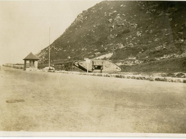 Hairy Bob's Cave behind the tank in 1919