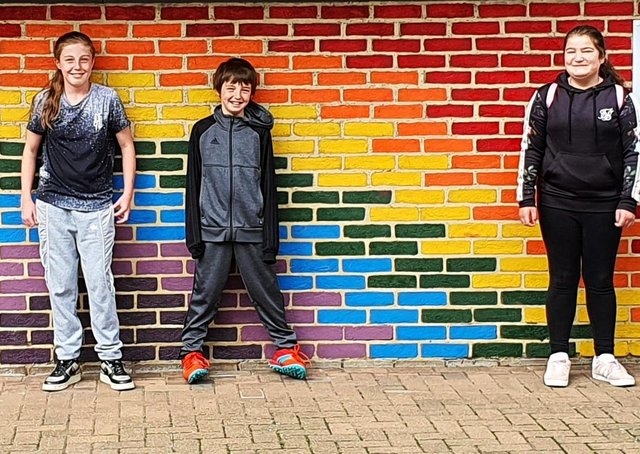The Rainbow Wall at Graham School was painted by children of key workers during the Covid-19 lockdown.