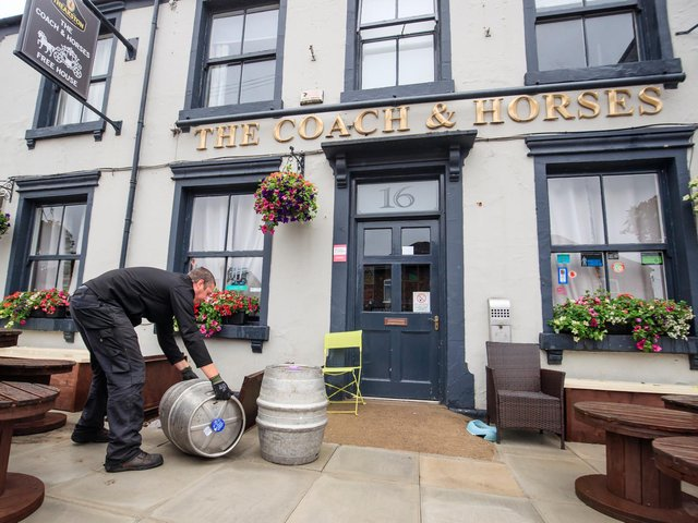 Samuel Smith's brewery delivers beer to the Coach and Horses pub in Tadcaster, Yorkshire, as pubs prepare for reopening to members of the public when the lifting of further lockdown restrictions in England comes into effect today (Saturday). Photo: PA
