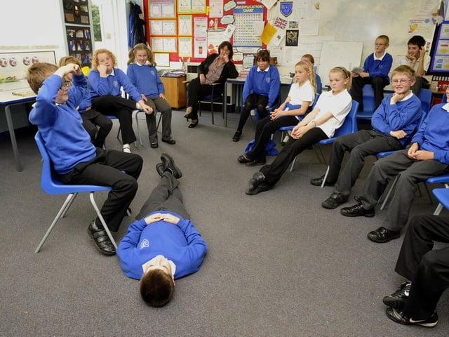 Seamer School pupils doing drama workshop with teacher Liz Curry,  from George Pindar Community Sports College