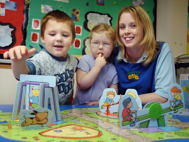 A £1m grant is given to University of Hull Scarborough campus for nursery training. Buttercups Nursery manager Amanda Campbell is pictured with George Spivey, 4 (L) and Grace O'Brien, 3.