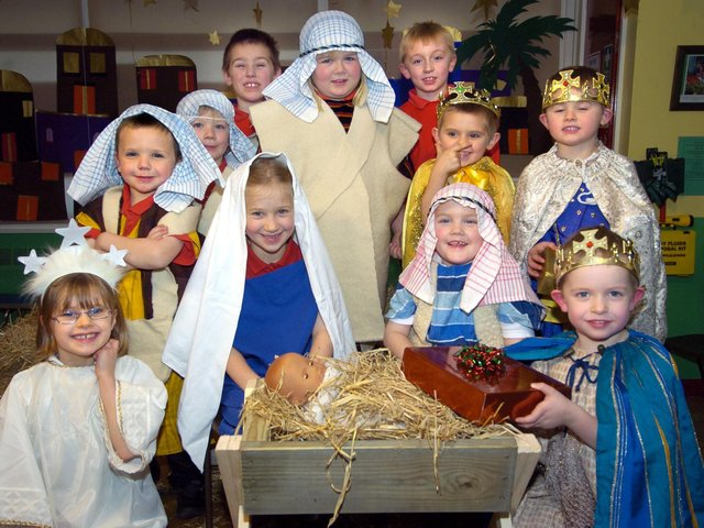 Youngsters from Heslerton Primary School perform their nativity play.