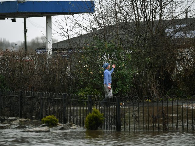 There are 51 flood warnings and 50 flood alerts in place across Yorkshire. Pictured is flooding at Allerton Bywater.