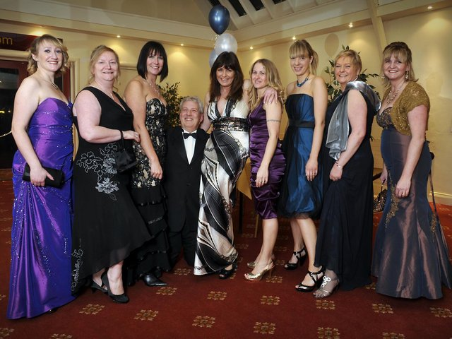 Tim Hopkirk, medical registrar, with the girls from A&E at the Hospital Ball.