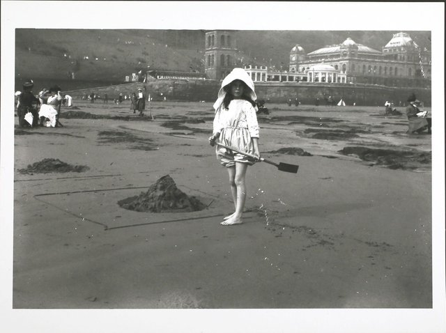 circa 1913 Children on the sands at Scarborough.
