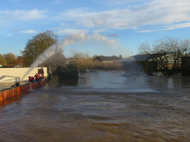 Pumps are in use to reduce the water levels.