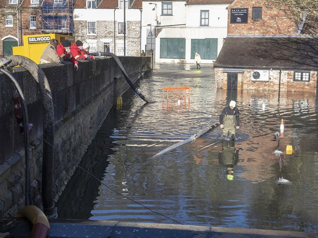 Parts of Malton remain underwater due to flooding.
