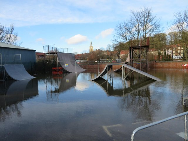 Flood waters are having a big impact, even the skate park remains underwater