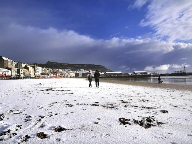 Snow on the beach in Scarborough - January 2021 - Picture: Richard Ponter