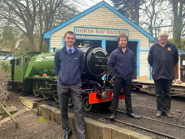 The new owners of the railway: John Kerr, left, with Peter Bryant and previous owner David Humphreys.