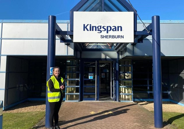 Castle Employment Group's Abi Cottle is pictured outside the Kingspan site at Sherburn.
