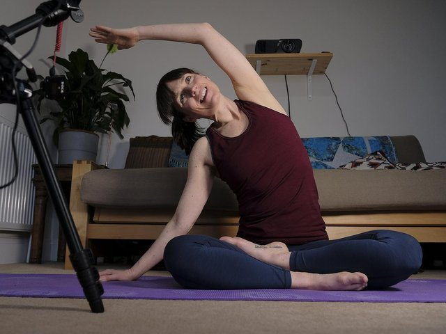 Carrie has been teaching yoga online since last March.