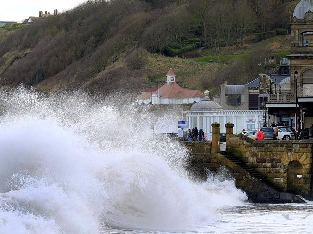 Stormy conditions on Scarborough seafront