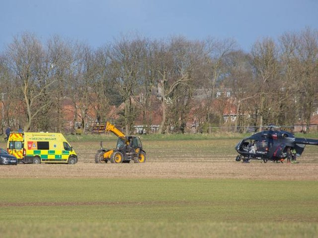 An air ambulance was called to Flamborough after a horse rider fell.