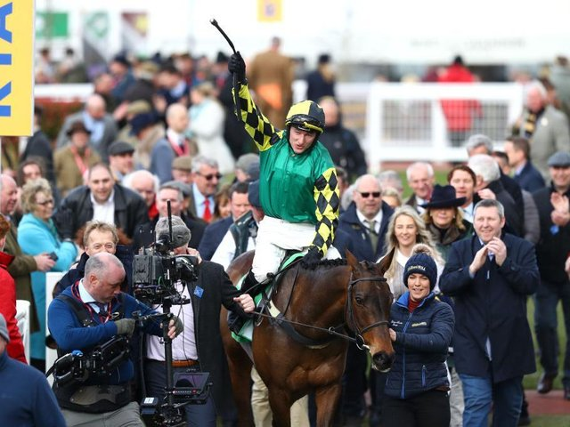 Adam Wedge celebrates his success at the 2020 Cheltenham Festival with Lisnagar Oscar, which is part-owned by former Scarborough FC winger Tony Outhart.