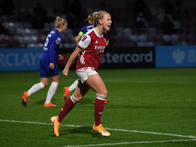 Beth Mead celebrates scoring for Arsenal. Picture: Getty