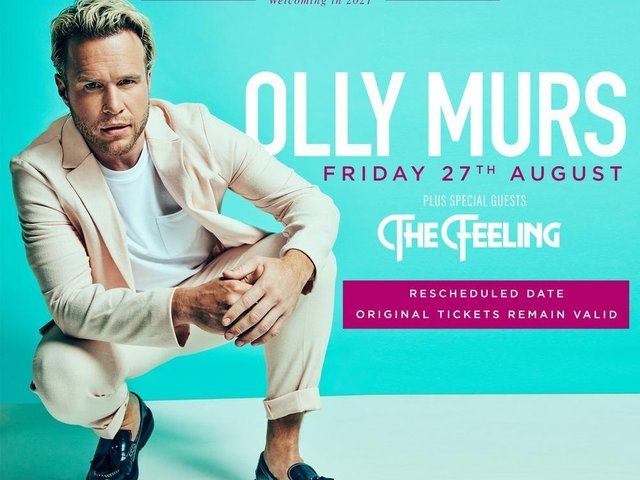 Olly Murs' new date at the Scarborough Open Air Theatre is August 27.