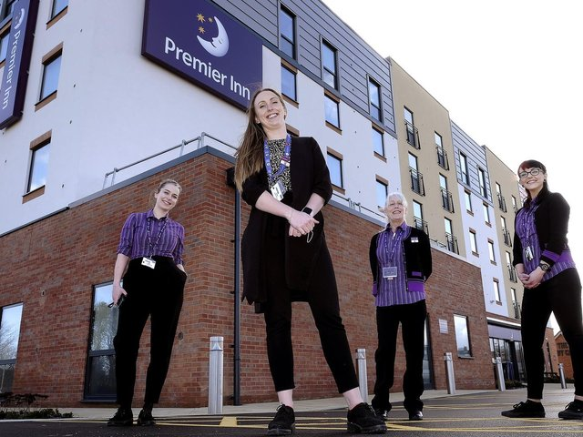 The new North Bay Premier Inn on Burniston Road opens with staff Sara Sumner, left, manager Ruby Young, Liz Connelly and Meg Dillinger.