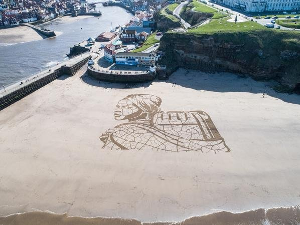 Aerial view of the beach art.