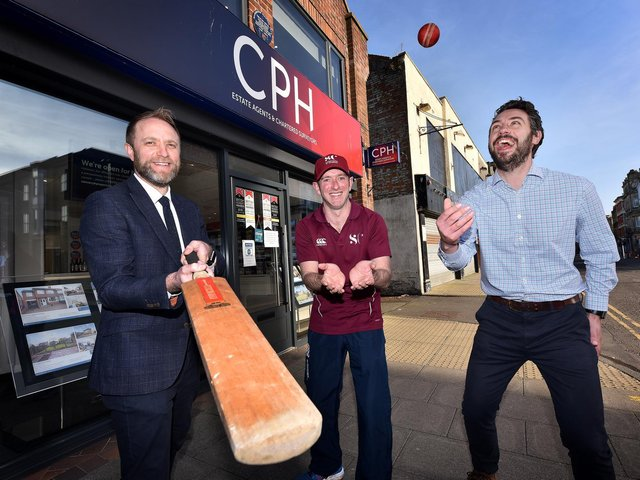 CPH have sponsored the Beckett Cricket League and Junior Cricket League. Phil Fletcher (left) and Joe Walker (right) of CPH celebrate their backing with Junior League committee member James Denton. Picture: Richard Ponter
