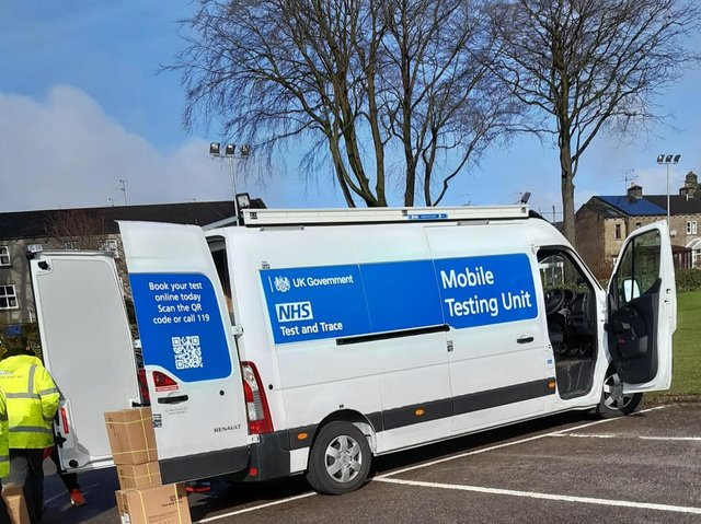 The mobile unit that is visiting rural communities as a collection point for test kits.