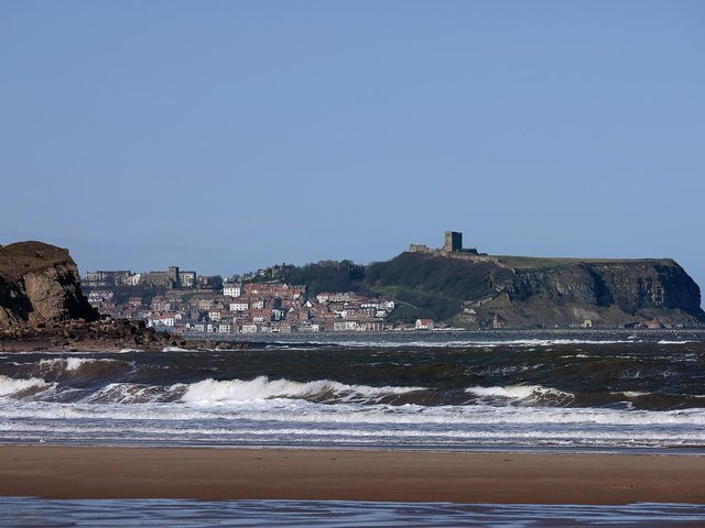 Cayton Bay...with a backdrop of Scarborough.