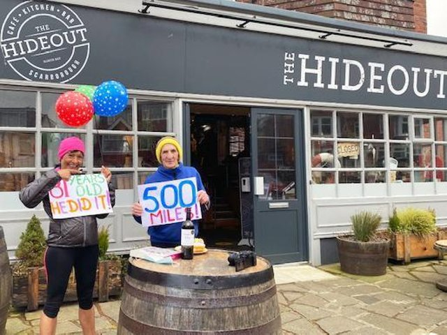 Mick Thompson finishes his impressive 500 miles in 50 days with Melanie Padgham from Scarborough Athletic Club.