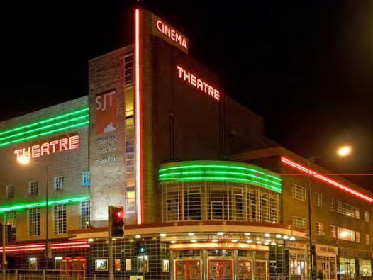 Scarborough's Stephen Joseph Theatre illuminated in all its glory.