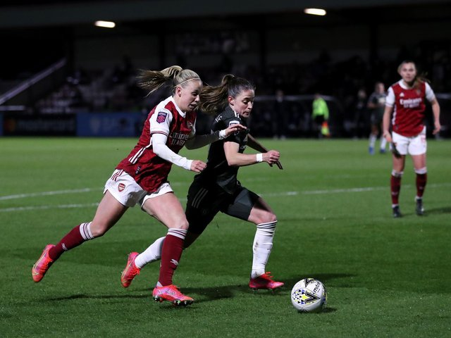BIG WIN: Beth Mead on the attack against Manchester United. Picture: Getty Images