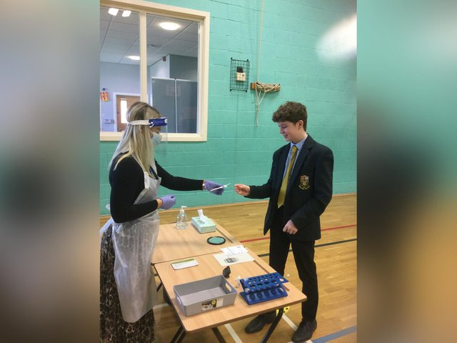 Key Stage 4 students at Malton School taking part in the lateral flow tests at school.