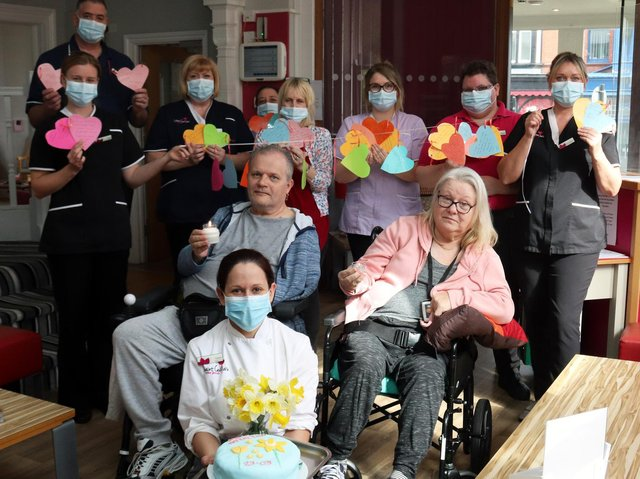 Residents and staff at Saint Cecilia's Nursing Home created hearts to remember lost loved ones.
