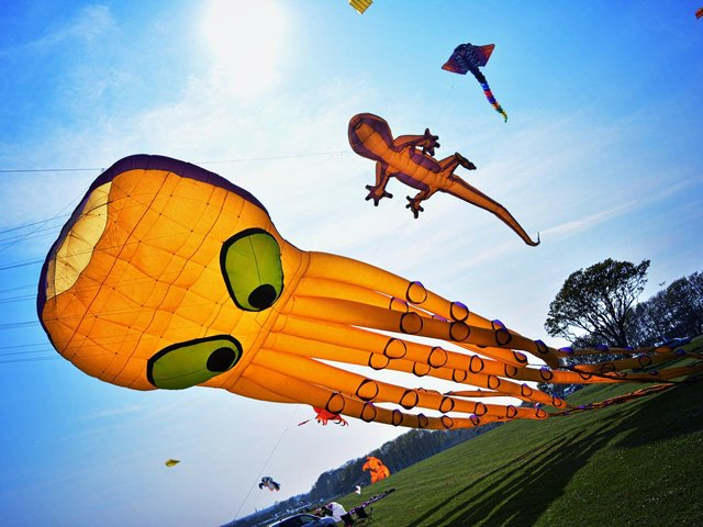 An octopus kite takes over the sky at Bridlington Kite Festival.