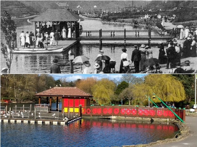 Top: Peasholm boathouse in 1912. Bottom: The boathouse today.