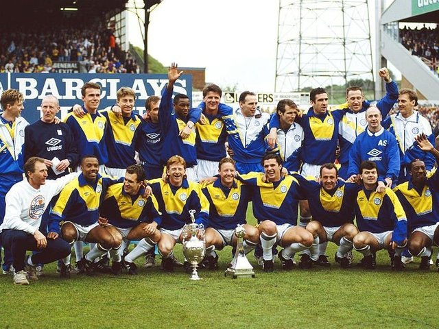 CLASS OF 92: Leeds United show off the old First Division title back in 1992. Picture: Getty Images