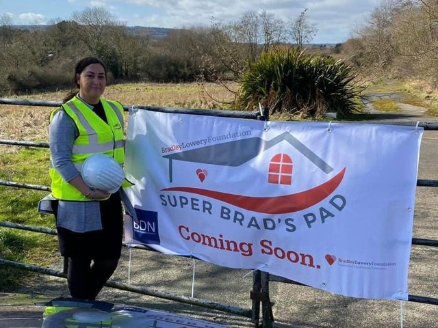 Bradley's mum Gemma Lowery on the holiday home site in Scarborough.