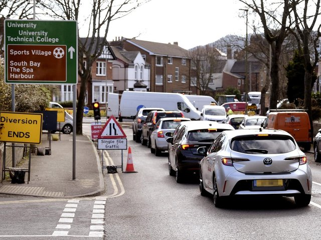 Traffic queues to Manor Road roundabout. Picture: JPI Media/ Richard Ponter