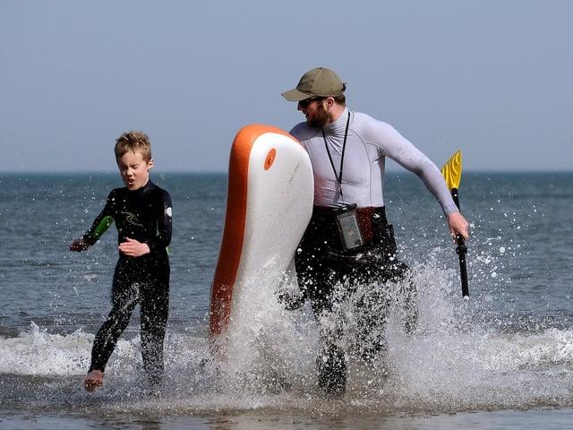 Enjoying the surf on North Bay. Picture: JPI Media/ Richard Ponter