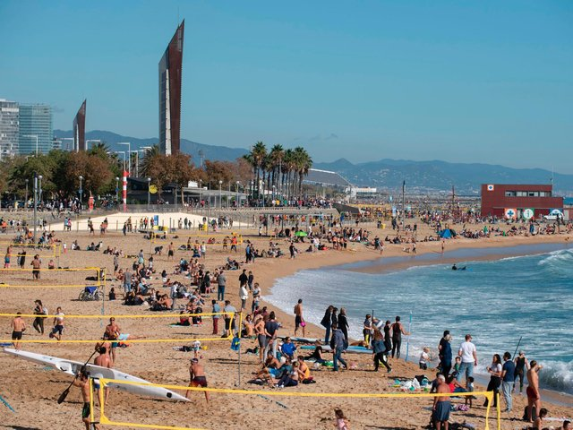 Bogatell beach in Barcelona. Photo by Josep Lago/AFP via Getty Images