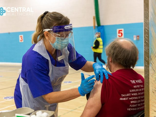 Central Healthcare Staff Nurse Diana Wilkinson carries out a vaccination at Scarborough Rugby Club.