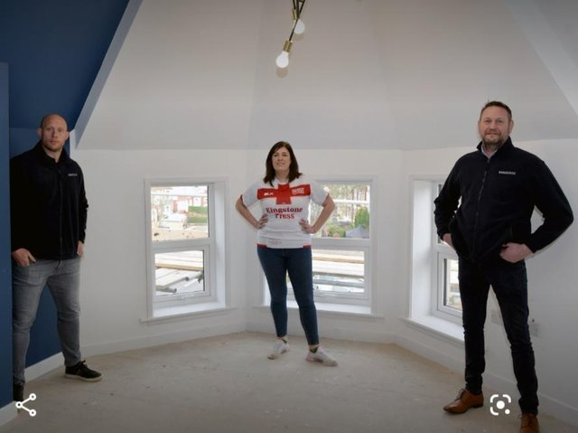 From left: Chris Hill, Sarah Corrie-Pearce and Peter Kindness in one of the apartments. Picture: Placed Media