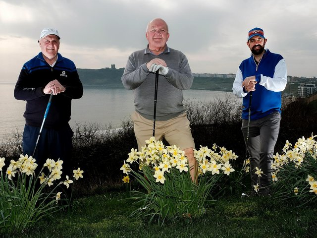 Graham Pickup, Phil Warburton and his son Mark looking forward to teeing off. Picture: Richard Ponter
