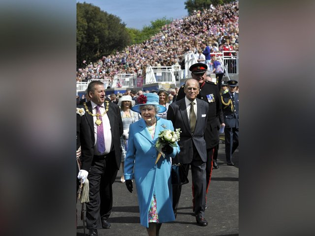 The Queen and Prince Philip at the Open Air Theatre in 2010, with Cllr Bill Chatt, the then mayor, on the left.