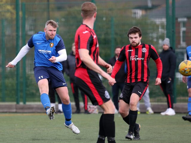 Sean Exley lets fly with a 25-yard effort that flew into the top corner. Picture: Alec Coulson