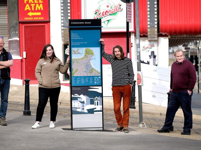 The first of Scarborough's new 'wayfinding' signs are installed.
