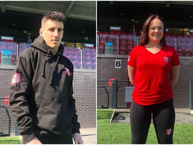 LOOKING THE PART: Michael Coulson and Leah Ager in the new merchandise