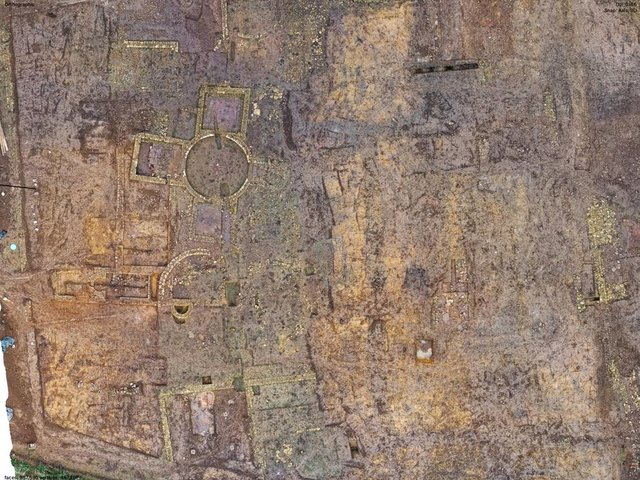 An aerial view of the site.