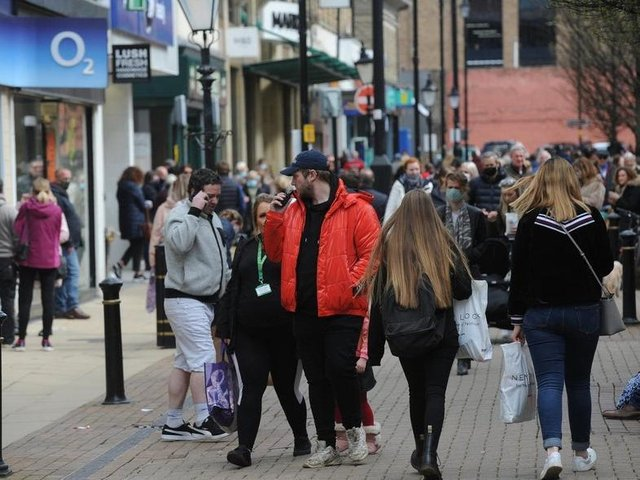 High streets were busy on Monday as hospitality and non-essential businesses made a return. Photo: Gerard Binks